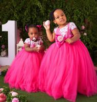 SexeMara Rose Red First Birthday Dresses Girls Lace Infant Toddler Pageant Flower Girl Dresses for Weddings and Party with Bow
