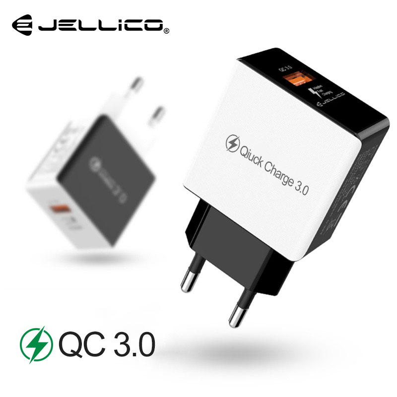 Jellico 18W QC3.0 USB de Parede de Viagem Adaptador Plug UE Charger Carga Rápida 3.0 Rápido Carregador de Telefone para Xiaomi Huawei samsung S8 S9
