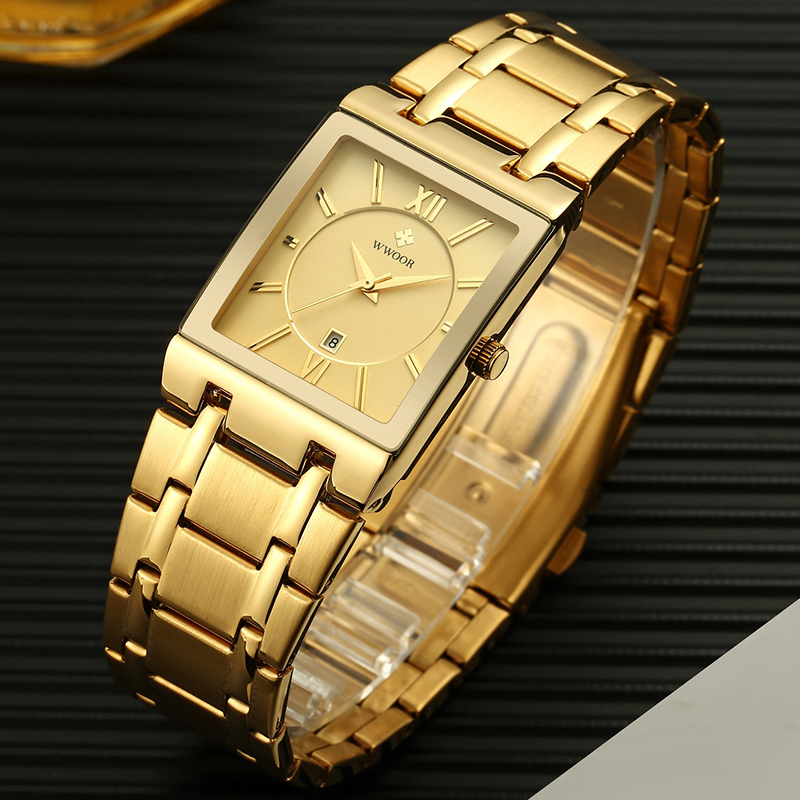WWOOR 2020 New Mens Watches Top Brand Luxury Gold Square Quartz Watch Men Waterproof Sport Business Wristwatch Relogio Masculino