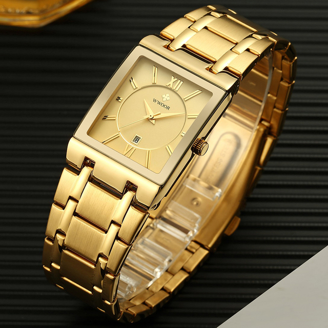 Relogio Masculino WWOOR Gold Watch Men Square Mens Watches Top Brand Luxury Golden Quartz Stainless Steel Waterproof Wrist Watch 3