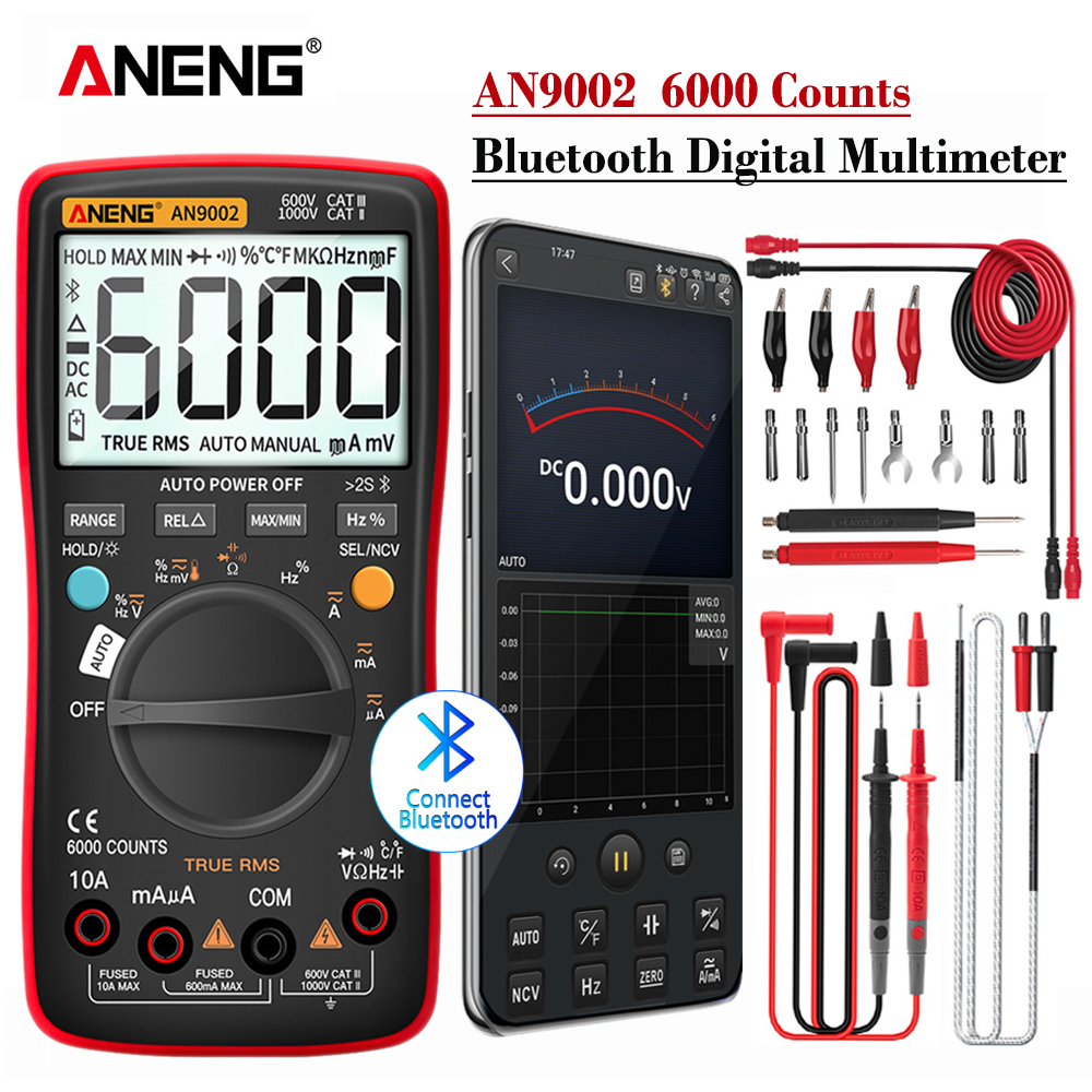 ANENG AN9002 Bluetooth Digital Multimeter 6000 Counts Professional MultimetroTrue RMS AC DC Current Voltage Tester Auto-Range