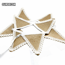 1.6M 8 flags Wedding Party Supplies Vintage Banner Home Decor Hessian Fabric Bunting Burlap Cord Jute Rope Photobooth Lace Flag