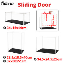 Odoria 34/40/51cm Sliding Door Acrylic Display Case Large Dustproof Clear Box Cabinet 1/87 1/35 Action Figure Collectibles Model