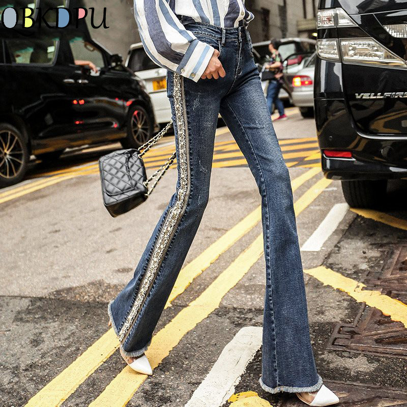 Plus Size Fringed Pearl Embroidered Flare Jeans Women Boot Cut Trousers Casual Stretch Skinny Bell Bottom Denim Pants Streetwear