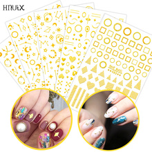 HNUIX 1 Pieces 3D Nail stickers Golden Stars Moon Triangle Square Self Adhesive Tips Art Decorations jewelry decals
