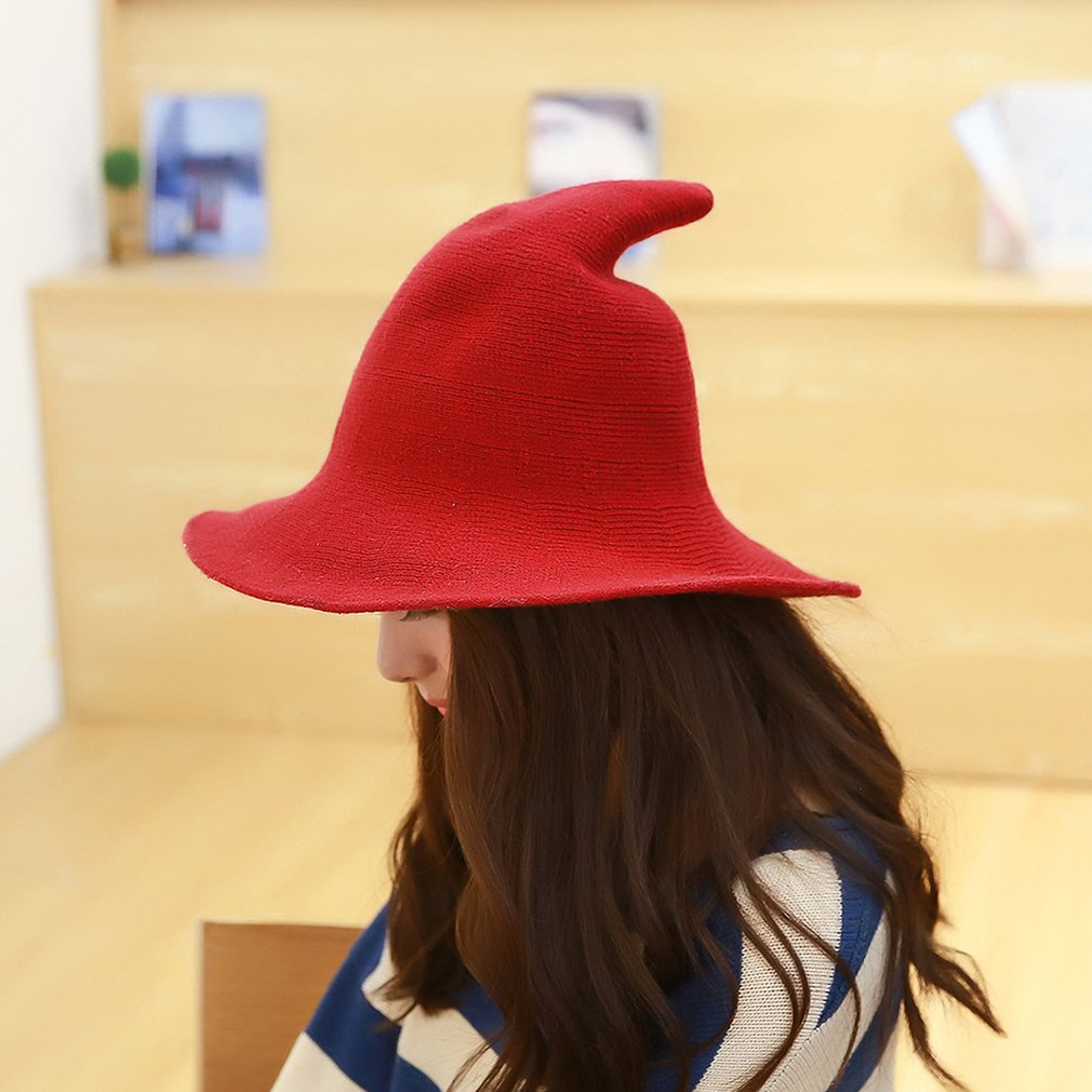 Halloween Personality Witch Hat Diversify Sheep Wool Cap Knitting Fishing Hat Fashion Women Witches Pointed Bucket
