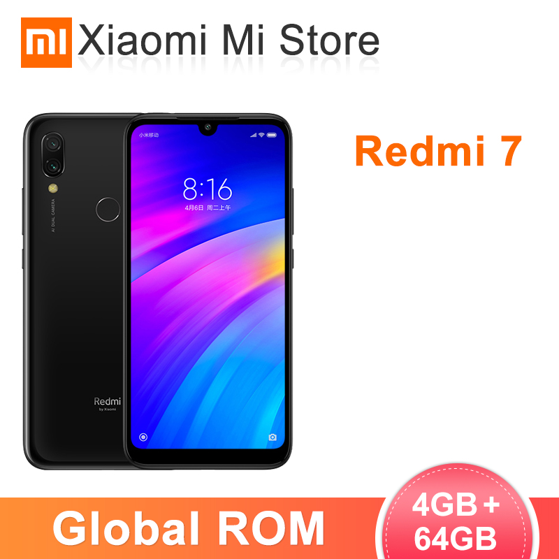 In Lager Globale ROM Xiaomi Redmi 7 4GB RAM 64GB ROM Handy Snapdragon 632 Octa Core 12MP kamera 6,26 ''19:9 Volle Bildschirm