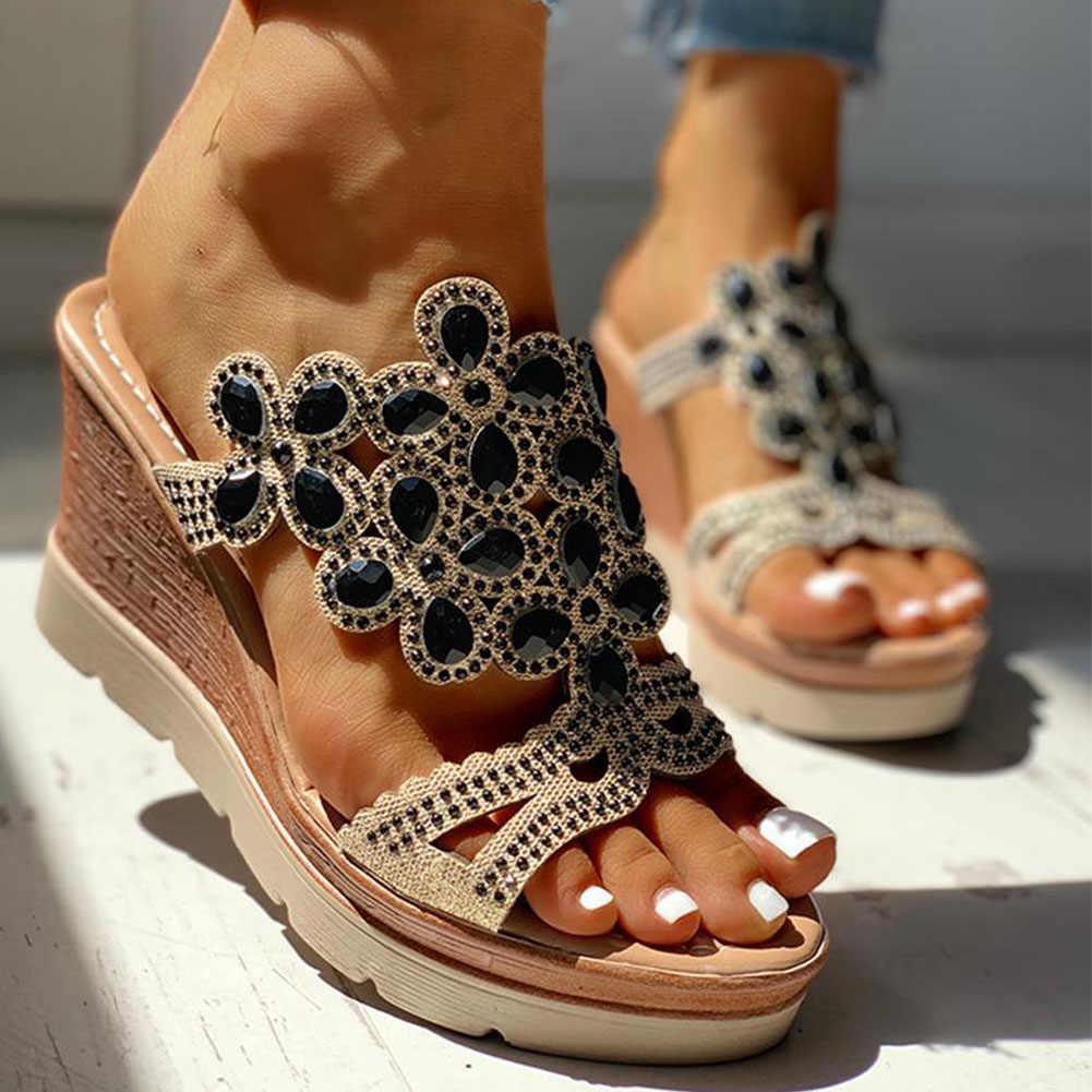 SARAIRIS 2020 Dropship Wedge Sepatu Hak Tinggi Sandal Leisure Platform Rhinestones Musim Panas Slip Pada Mules Sandal Wanita Sepatu Wanita