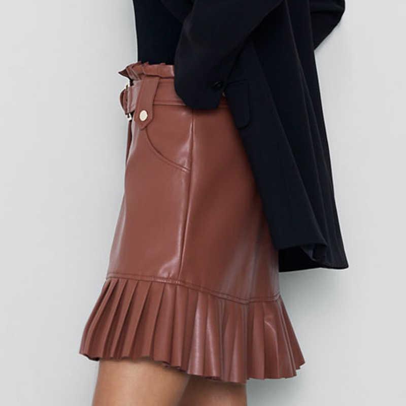 RR Tie Riem Taille Pockets Rokken Vrouwen Mode Kleine Geplooide Faux Lederen Rok Vrouwen Elegante Mini Rokken Vrouwelijke Dames HZ
