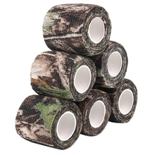 6 Roll Camouflage Tape Cling Scope Wrap Camo Stretch Bandage Self-Adhesive Tape for Camping Hunting Bike Telescope outdoor retractable camouflage tape camo self adhesive non woven fabric wrap desert camo