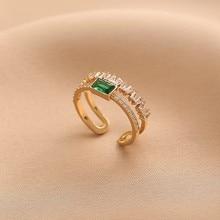 MENGJIQIAO moda zielony kryształ delikatna cyrkonia Bowknot regulowane pierścienie dla kobiet dziewczyn Micro Pave 2 warstwy palec...