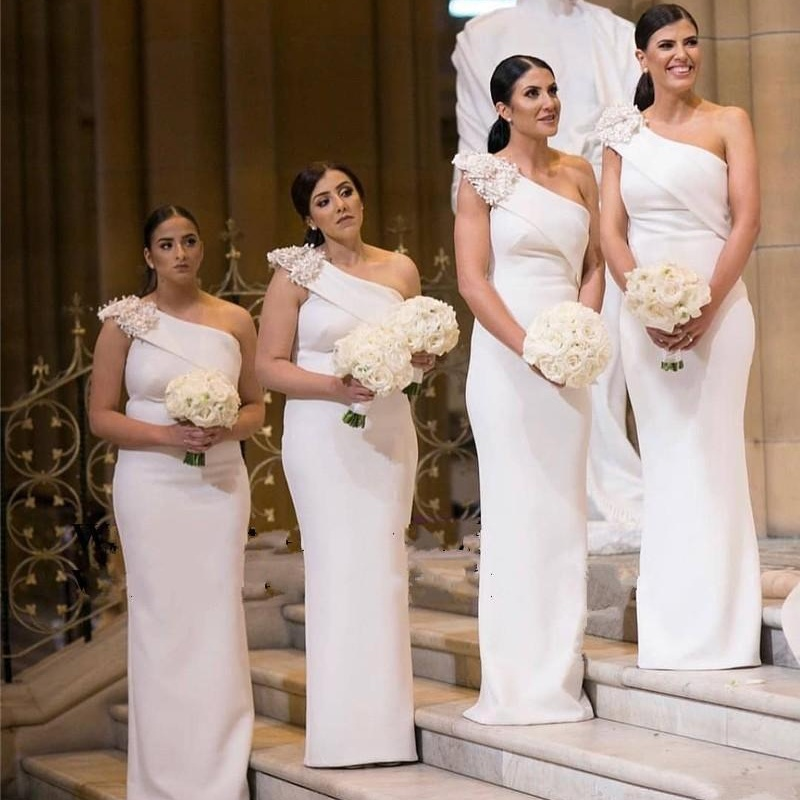Modest One Shoulder Bridesmaid Dresses With Appliques Mermaid Wedding Party Dress Vestidos De Fiesta Maid Of Honor Gowns