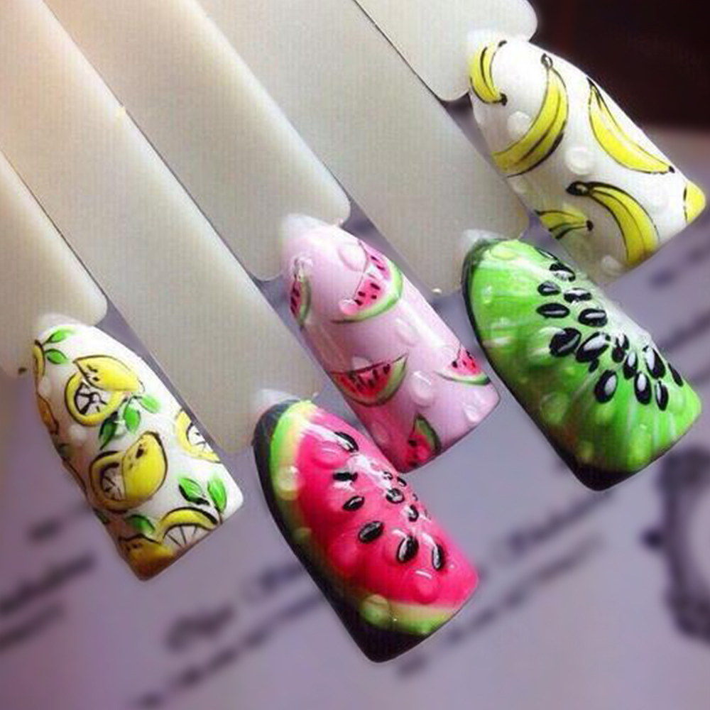 1 Sheet Fruit Design Nail Art Sticker Water Transfer Decals Summer Watermelon Tattoos Slider Color Tips Decoration SASTZ474-496