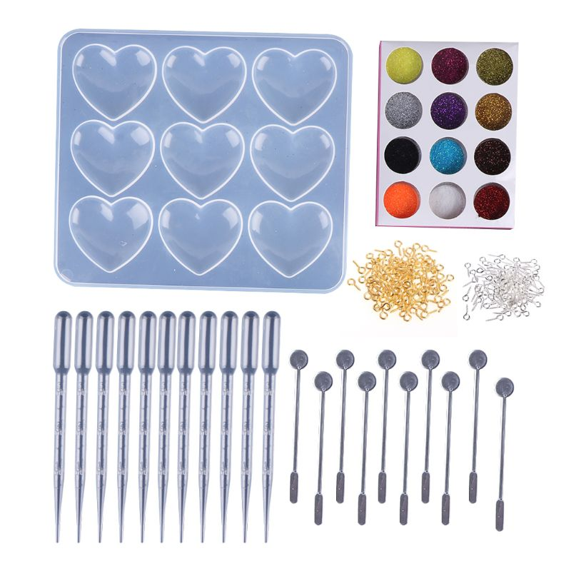 1 Set Epoxy Mould DIY Handmade Heart Shaped Molds Creative 9 Grid Silicone Mold Pendant Jewelry Making Tool Material in Jewelry Tools Equipments from Jewelry Accessories