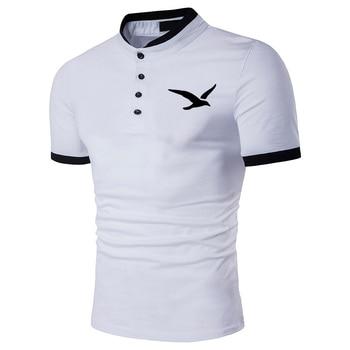 Seagull print Summer Men Polo Shirt Casual Short-sleeve Hit Polo Shirt Oblique Striped Lapel Tops Men Slim Fit Breathable Polos