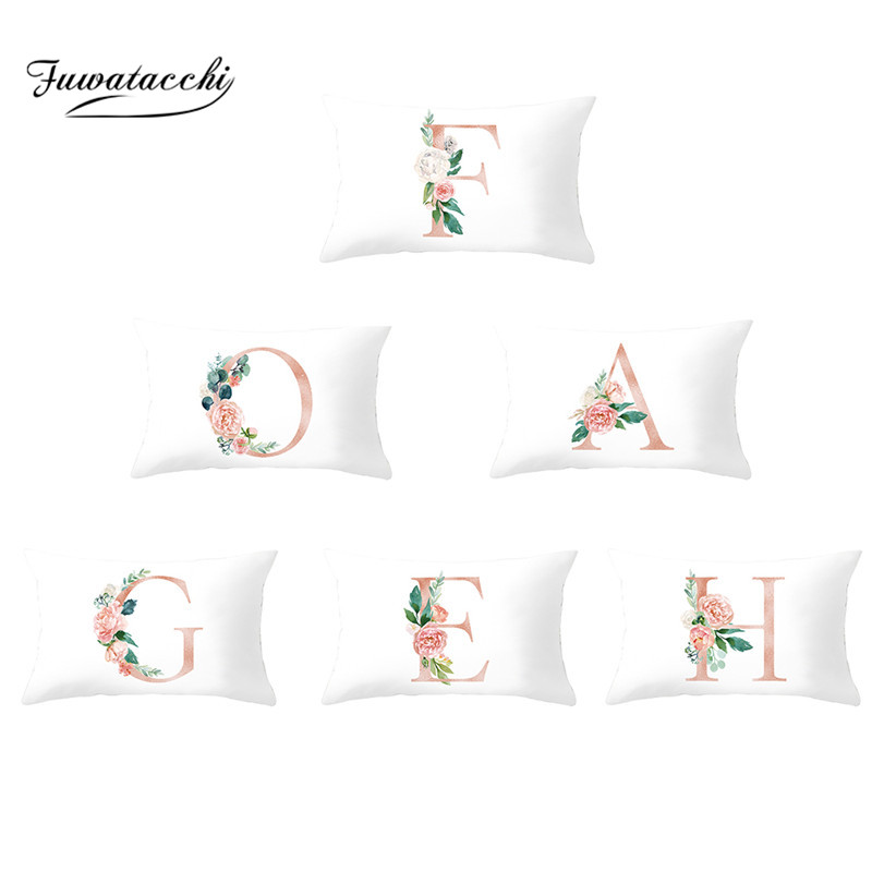 Fuwatacchi White Flower A-Z Letter Cushion Cover 26 Alphabet Throw Pillowcase for Home Sofa Car Decorative Pillows Case 30*50cm