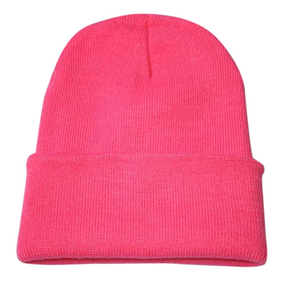 Осенне-зимняя одежда из шерсти смеси мягкий теплый вязаный Кепки Повседневное Chapeau унисекс сапоги высотой выше колена Вязание шапка в стиле хип-хоп кепка, теплая зимняя Лыжная шапка# Y5 - Цвет: Pink