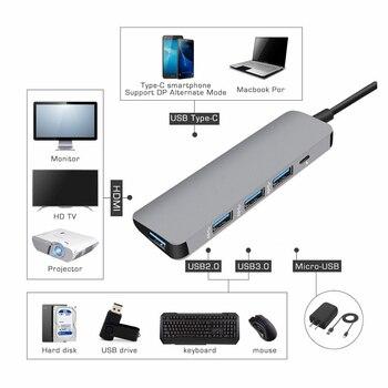 USB3.0 док-станция Тип C к HDMI концентратор адаптер для SD TF карт ридер ноутбук MacBook смартфон расширение USB-C конвертер HDMI