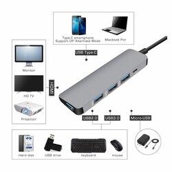 USB3.0 الإرساء قفص الاتهام نوع C إلى HDMI مهايئ توزيع ل SD TF قارئ بطاقات دفتر ماك بوك الهاتف الذكي التوسع USB-C محول HDMI