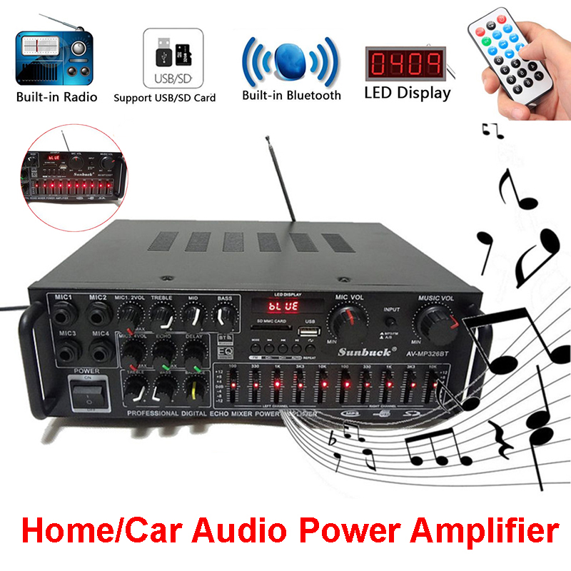 Bluetooth 2.0 Channel 2000W Audio Power <font><b>HiFi</b></font> <font><b>Amplifier</b></font> 220-240V AV Amp Speaker Remote Control EQ Stage Karaoke for Car Home image