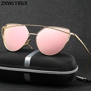 17 colors metal Sunglasses Women Luxury Cat eye Brand Design Mirror Rose Gold Vintage Cateye Fashion sun glasses lady Eyewear(China)