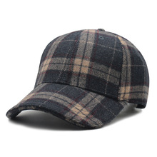 Осенняя и зимняя шляпа среднего возраста шерстяная шляпа Зимняя уличная бейсбольная кепка в клетку универсальная шляпа с полями