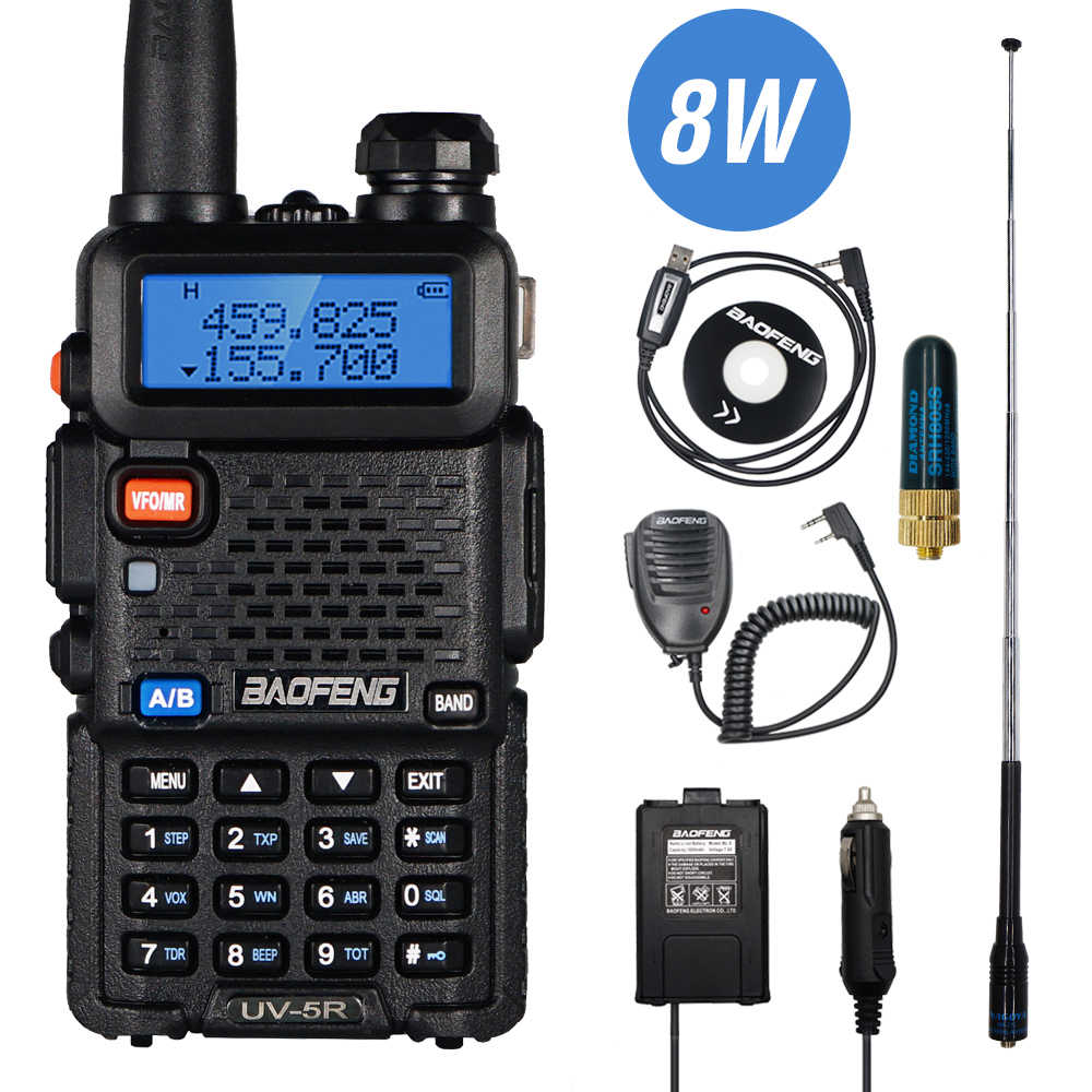 Nyata 8W Baofeng UV-5R Walkie Talkie UV 5R Dual Band Walkie FM Transceiver UV5R Amatir Ham Radio CB Station berburu Transmitter