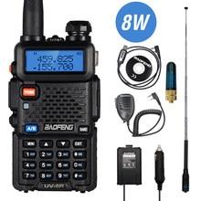 Real 8w baofeng UV-5R walkie talkie uv 5r banda dupla walkie fm transceptor uv5r amador presunto cb estação de rádio transmissor caça