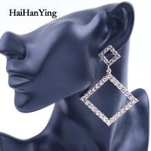 Женские квадратные серьги с кристаллами большие геометрические