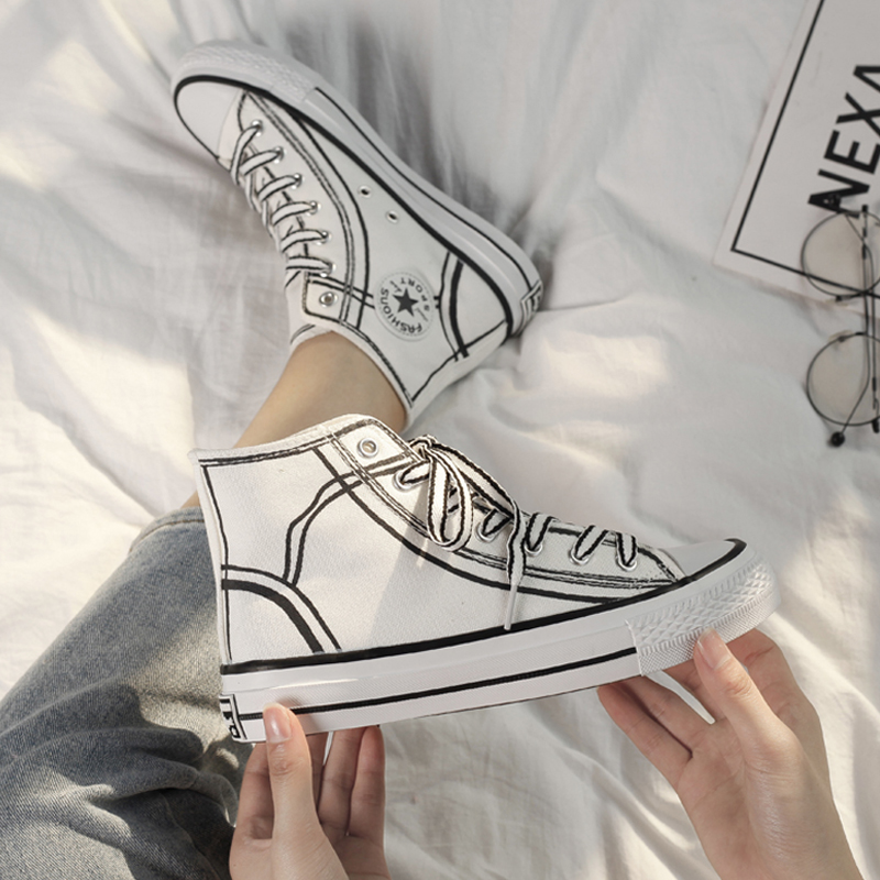New Hand-painted High-top Canvas Women Shoes 2019 Spring Fashion Breathable Female Casual Sneakers Platform Comfortable Leisure
