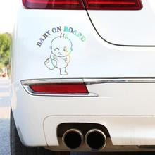 Colorido laser bebê a bordo do carro 3d adesivo engraçado vinil automóvel estilo decalque suave realista e imagem bonita