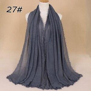 Image 4 - Foulard Hijab en coton pour femmes musulmanes, doux froissé, Long châle, étole islamique, foulards à la mode