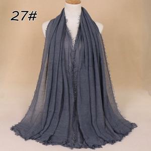 Image 4 - Kadınlar müslüman düz yumuşak kırışık pamuk başörtüsü eşarp uzun şal İslam şal çaldı kadın eşarp moda başörtüsü hicap susturucu