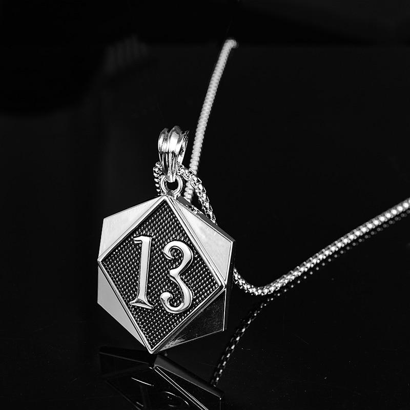 Verdandi na moda hip hop jóias sorte número 13 treze pingente colar cubana link corrente para homens feminino presentes acessórios