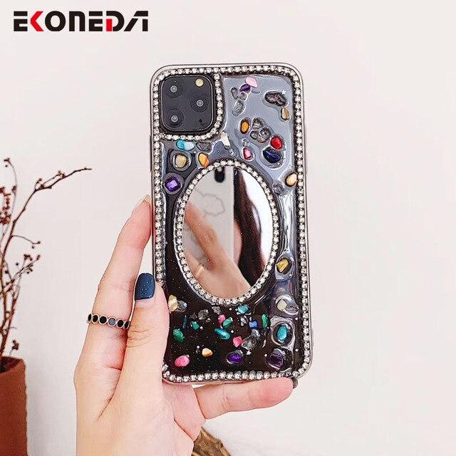 EKONEDA Luxury Glitter Diamonds Case For iPhone 11 Pro Max X XS Max XR Case For iPhone 7 6 6S 8 Plus Silicone Mirror Case Cover