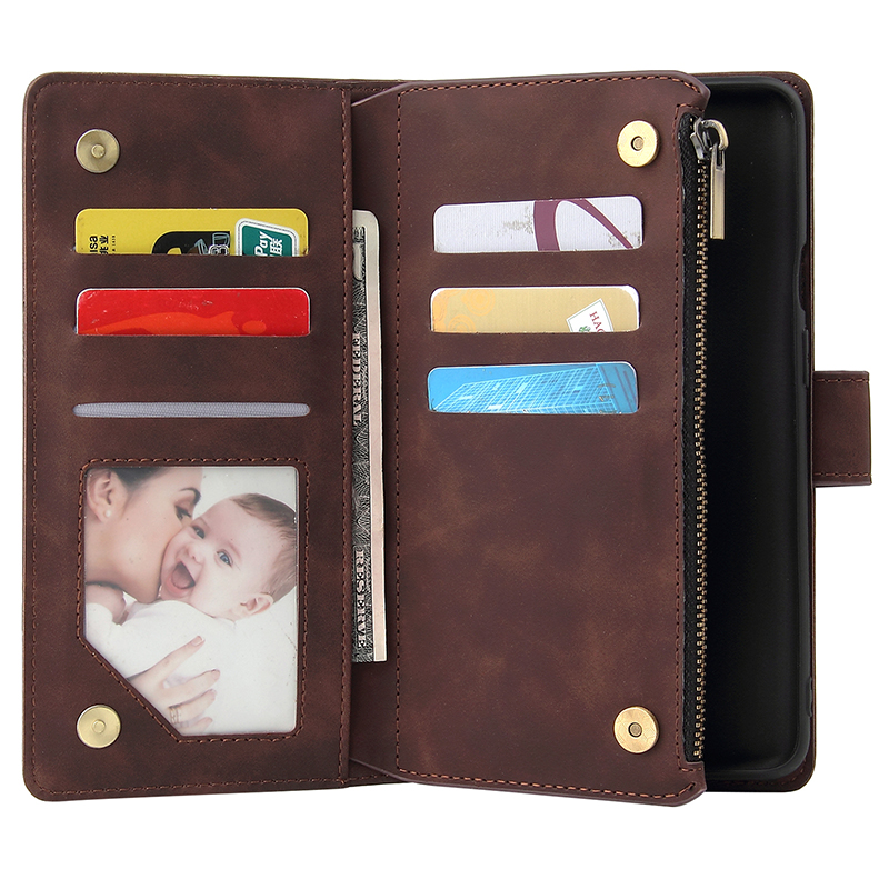 Oneplus 7T Pro Case Zipper Wallet Retro Leather Phone Case For Oneplus 7T 7 Pro One Plus Seven Magnetic Case Flip Business Cover