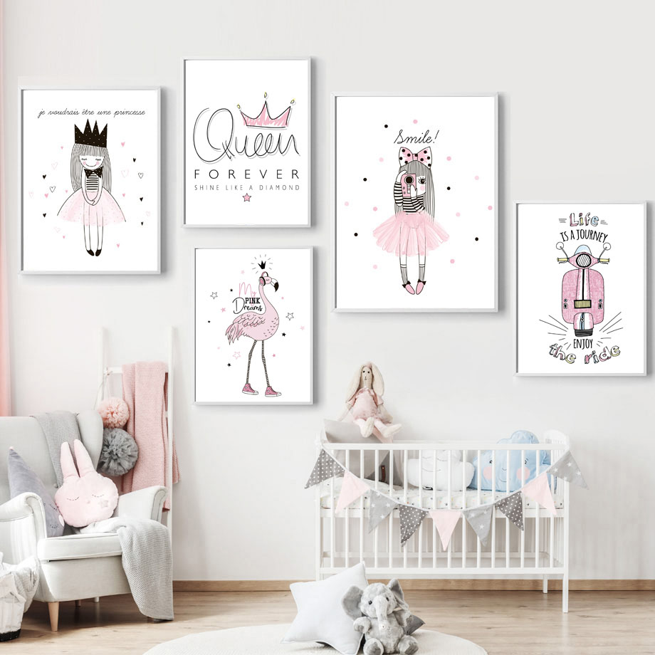 Cartoon Pink Girl Princess Queen Crown Flamingo Nordic Posters And Prints Wall Art Canvas Painting Wall Pictures Kids Room Decor