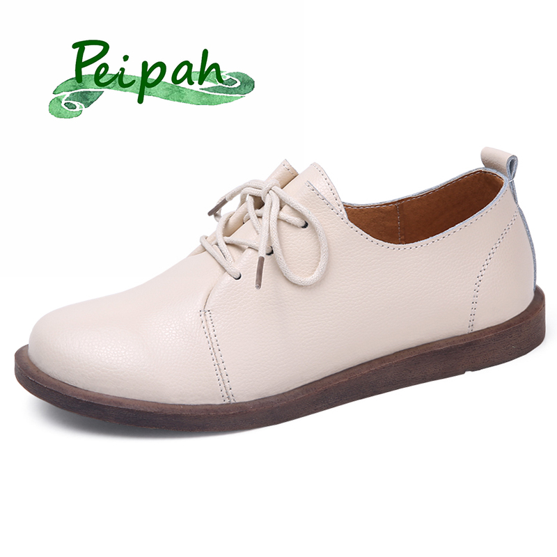 PEIPAH Retro Genuine Leather Shoes 2019 Autumn Women's Shoes Woman Rubber Flats Female Lace-Up Casual Brogue Zapatos De Mujer