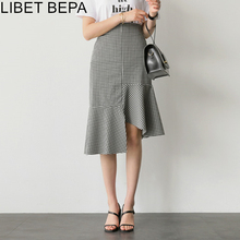 Trumpet-Skirts Patchwork Plaid Summer Asymmetrical Waist High-Elastic Casual Female SK6072