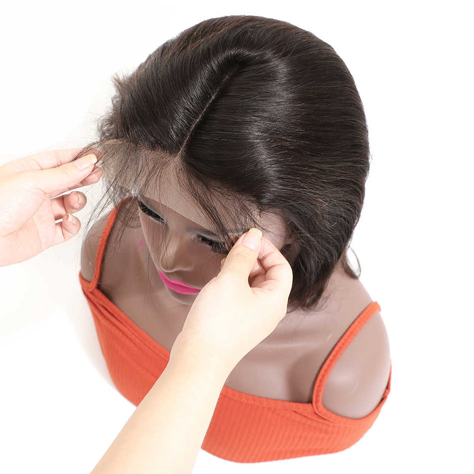 Brasileño 6*6 Cierre de encaje recto con pelo de bebé Color Natural Remy encaje suizo 130% Cierre de Densidad 6x6 gratis a Brasil