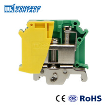Din Rail Terminal Blocks Ground 10Pcs UISLKG-35 Universal Class Connector Screw Terminal blocks UISLKG35 ptf14a e 14 screw terminal relay socket base din rail for hh64p y4nj