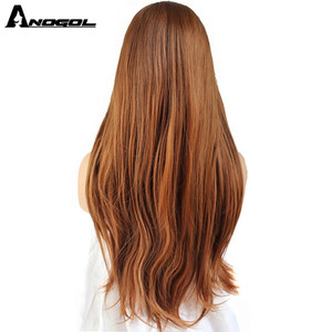 Image 3 - Anogol Brand Dark Roots Ombre Brown Synthetic Lace Front Wigs Long Straight Heat Resistant Fiber Wigs for Women Daily Use
