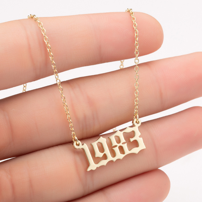 Bohemian English Number Letter Necklace Stainless Steel Chain Necklace for Women Birthday Gift Personalized Birth Year Necklaces 1