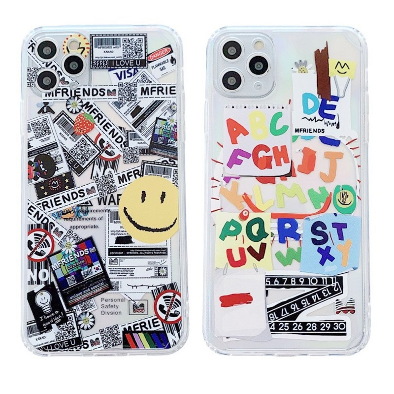 Cartoon Lucky Smiley Straight Edge Phone Case For Iphone 12 Mini 11 Pro XS Max XR X 7 8 Plus Clear Soft Airbag TPU Cover Coque