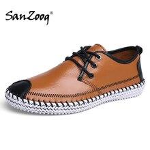 תחרה עד גדול גודל גברים נעלי עור מקרית אופנה Chaussure Homme Cuir Zapatos דה Hombre Casuales Cuero סתיו איש נעל בעבודת יד