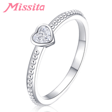 MISSITA 2019 New Sweet Heart Crystal Rings For Women Brand Jewelry Anniversary Engagement Gift anillos mujer