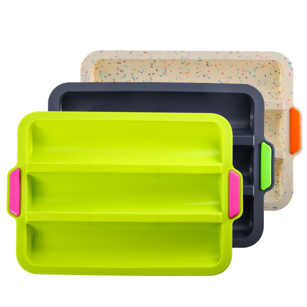 3 Slot Mini Silicone Desserts Kitchen French Bread Mould Cakes Baguette Restaurant Non Stick DIY Baking Tray Easy Clean