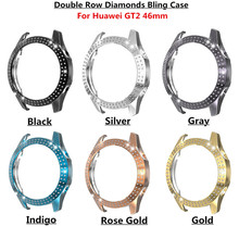 Double Row Diamonds Bling Case for Huawei watch GT 2 46mm strap band Watch GT / GT2 46 mm cover bumper Cases