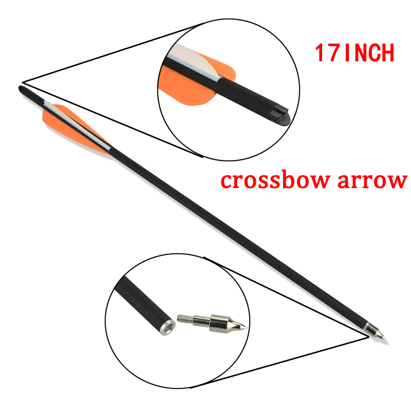 12pcs 18inch Crossbow Arrow Archery Crossbow Shooting Carbon Arrows 100grain Replaceable Broadhead For Hunting Accessories in Bow Arrow from Sports Entertainment