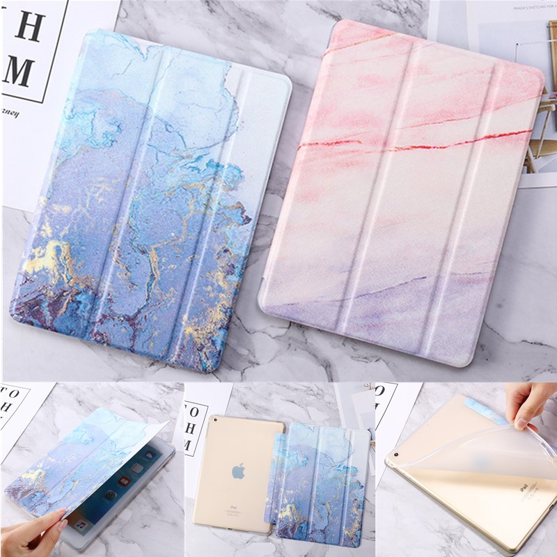 for iPad 10.2 2019 Fold Soft Case for iPad Air air 2 9.7 2017 2018 Marble Tablet Cover